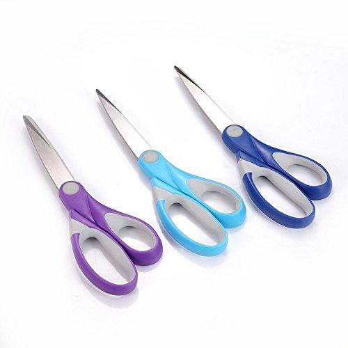 GYOYO 3 Packs Ciseaux avec Soft Grip Acier Inoxydable Multicolore,Ciseaux de cuisine multiusage, Ciseaux lames, pour papier,tissu,vêtement