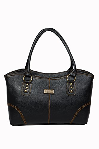 Urban Stitch Casual, Formal, Travel Black Leatherette Handbag For Wome