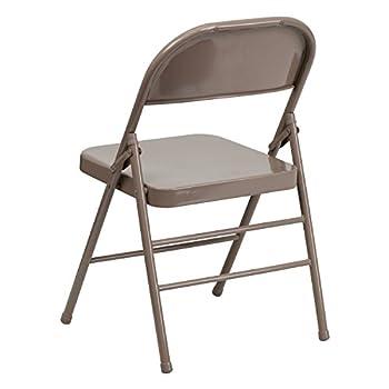 Flash Furniture HERCULES Series Triple Braced & Double Hinged Beige Metal Folding Chair