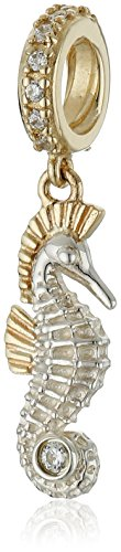 Chamilia Sterling Silver and 14K Gold Seahorse with White Zirconia Swarovski Bead Charm