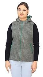 Romano Classy Green Hooded Reversible Sleeveless Warm Winter Jacket for Women
