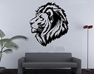 OneHouse Lion Head Vinyl Wall Decal Bedroom Living Room Art Decor Birthday Gift Decal Tatoo Wall Mural Decor by OneHouse
