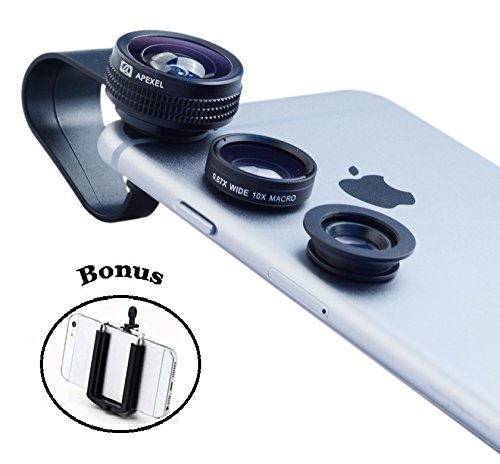Ivation 3-in-1 Clip-On Smartphone Lens (Black) With 180° Fisheye Lens, Wide-Angle Lens & Macro Lens Kit with Ivation Universal Tripod Stand Mount Adapter For the Samsung Galaxy S6 edge & Galaxy S6, S5, S4, S3, iPhone 6s, 6 Plus, 6, 5, 5s, 5c, 4, 4s & Most Smartphones