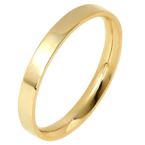 18K Yellow Gold, Flat Comfort Fit Wedding Band 2MM (sz 13)