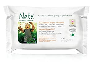 Naty by Nature Babycare Fragrance Free Travel Wipes - 10 x Packs of 24 (240 Wipes)