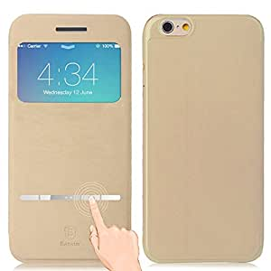 iPhone 6S Plus Case, Aerb [Classic Series] Smart Touch Metal Answer Calls Front Flip Cover for Apple iPhone 6S Plus 5.5 Inch - Khaki