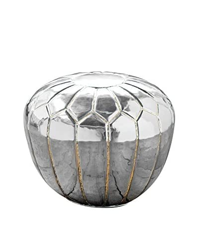 Home Philosophy Metal Pouf, Polished Steel