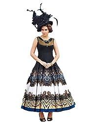angel fashion black hand work and heavy digital printed bhagalpuri silk gown(gown5_black)