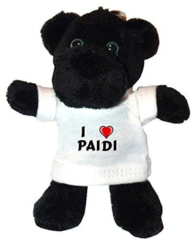 Plüsch Schwarzer Panther Schlüsselhalter mit T-shirt mit Aufschrift Ich liebe Paidi (Vorname/Zuname/Spitzname)