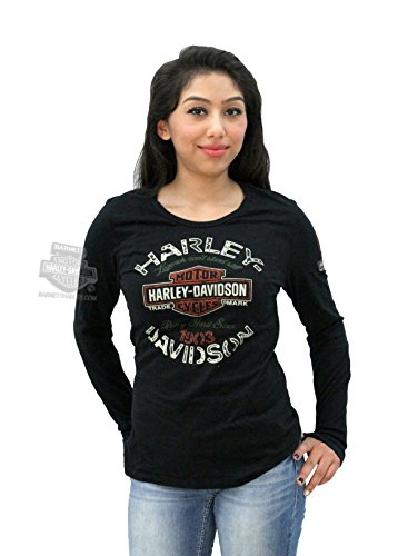 Harley-Davidson Womens Ride with Passion Trademark B&S Black Long Sleeve T-Shirt - 1X