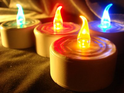 4 pc Red Yellow Green Blue Color Flicker LED Electronic Blowable Blow Out Candle Tealight Tea Light