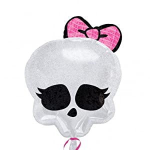 Skull with Pink Bow Holograhic Balloon 18 Inch Mylar Goth Party