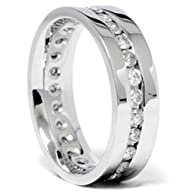 Mens 1.25 CT Diamond Channel Set Eternity Ring Wedding Band Anniversary