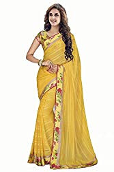 Monash Creations Yellow Old Rose Soft Faux Crepe Chiffon Saree with Blouse