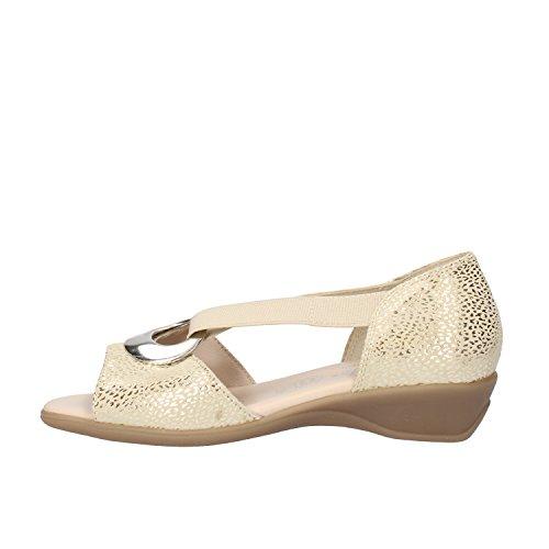 SUSIMODA sandali donna 36 EU beige camoscio platino tessuto AG970-B