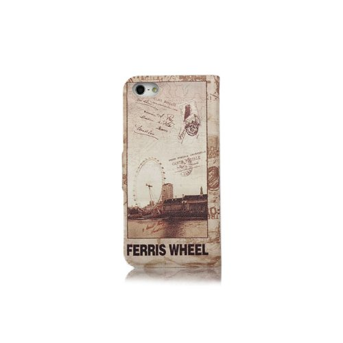 Primecases? Retro Vintage PU Leather Case Cover for Apple iPhone 5S (London Eye)