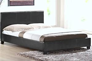 """4FT 6"""" Double Faux Leather Bed Frame in Black Prado"""