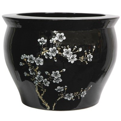 Clic Anese Chinese Asian Ceramic Planter 14 Plum Blossoms On Black Porcelain Pottery Fishbowl