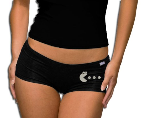 cookie-pacman-short-panties-s-xxl-black-silver-xxl