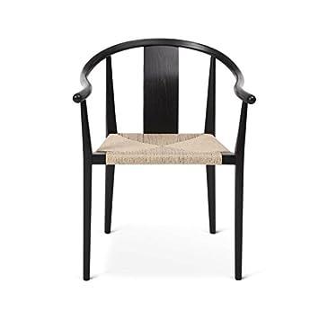 Shanghai Armchair black natural/seat paper yarn
