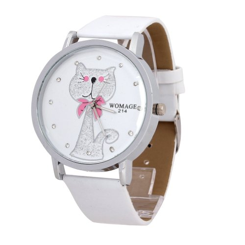 WLM Women Ladies Girls White Band Cute Cat Design Big Dial Case Leatheroid Made Quartz Wrist Watch Watches Clock