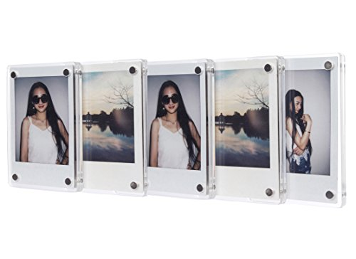 [Fujifilm Instax Mini Frame] -- CAIUL Clear Acrylic Fridge Magnetic Frame, Double Sided Photo Magnet Frame for Instax Mini 8 8+ 70 7s 90 25 50s Film, 5pcs (Floral Refrigerator Cases compare prices)