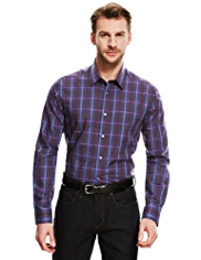 Autograph Pure Cotton Satin Checked Shirt