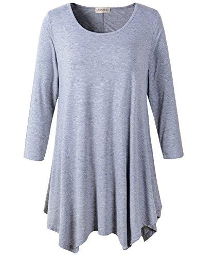 Lanmo Women Plus Size 3/4 Sleeve Tunic Tops Loose Basic Shirt (2X, Light Gray)