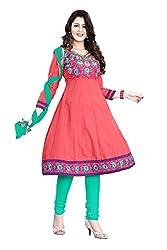 Kimisha Peach Cotton Embroidered Anarkali Dress Material