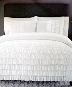 comforter set twin xl extra long white ruffled cynthia rowley 2 piece home kitchen. Black Bedroom Furniture Sets. Home Design Ideas