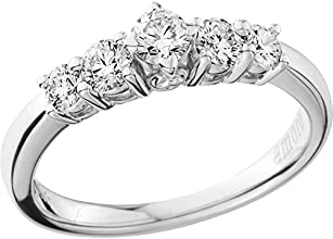 Amoro 18kt White Gold Classic Diamond Five Stone Anniversary Ring 05 cttw H-I Color SI1-2 Clarity
