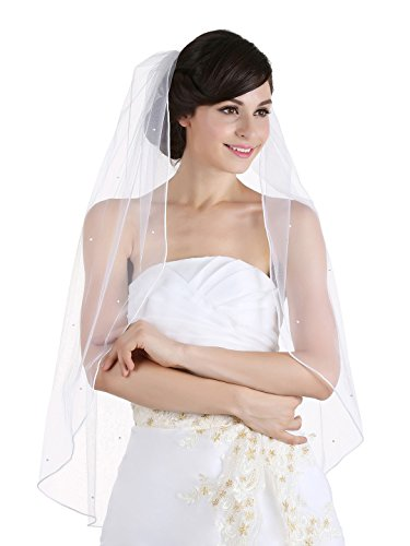1T 1 Tier Rhinestones Crystal Sattin Rattail Edge Bridal Wedding Veil - White Color Fingertip Length 36