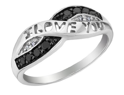 White and Black Diamond I Love You Promise Ring 1/10 Carat (ctw) in Sterling Silver, Size 7.5