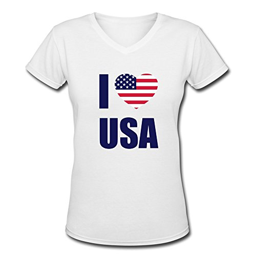 YWT Love USA Women T-shirts V Neck Funny White