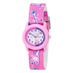 Timex Kids' T7B151 Time Teacher Pink Ballerina Elastic Fabric Strap Watch