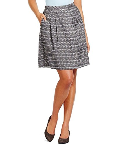Eileen Fisher Ash Cotton Aerial Ikat Pleated Skirt L