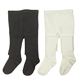 Bowbear 2-Pair Girls Fancy Knit Cotton Tights, Black & White, 2-3 Years