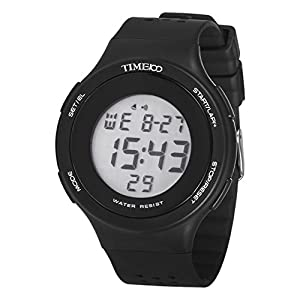 TIME100 Multifunction LCD Round Dial Silicone Strap Black Outdoor Sports Digital Watch #W40109M.01A
