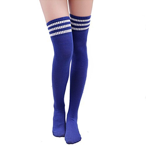 Butterme-Frau-Mdchen-ber-den-Knie-Extra-Lang-Fuball-Rugby-Socks-Strmpfe-Sport-Tights-mit-Klassik-Dreibettzimmer-Stripes-Cosplay-Socken