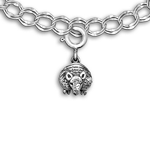 Sterling Silver Facing Armadillo Charm for Charm Bracelet by The Magic Zoo (Armadillo Costume)