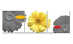 Eden Art 3 Panels Yellow and Grey Sunflower Pictures Photo Prints on Canvas Wall Paintings, HD Modern Giclee Walls Artwork for Home Office Decor, Stretched and Framed, Each Piece 50x50cm