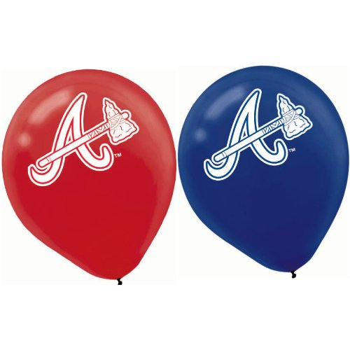 "Amscan Atlanta Braves Major League Baseball Printed Latex Party Balloons, 12"", Blue/Red"