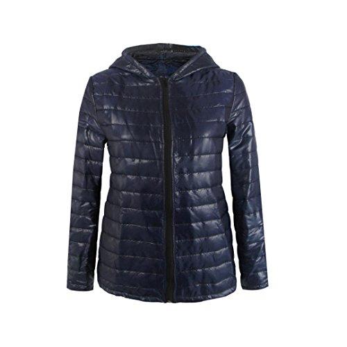 """Elegante Moda, Reasoncool Manica lunga con cappuccio inverno delle donne del rivestimento del cappotto della chiusura lampo (L-Busto:40.9"""", Blu)"""