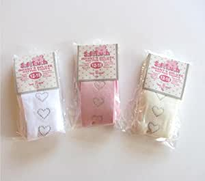 One Pair Soft Touch Deluxe Cotton Tights With Diamonte Hearts - Pink 12-18 Mths
