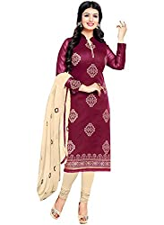 Zombom Pink Chanderi Cotton Embroidered Un-stitched Salwar Suit