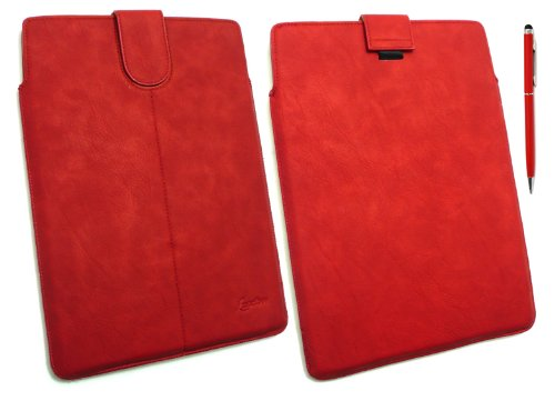 Emartbuy ® Stylus Pack - Red Dual-Function Stylus + Red Pu Leder Secured Slide In Pouch / Case / Sleeve / Halter Mit Pull Tab Mechanismus Geeignet Für Samsung Galaxy Tab 2 10,1 Tablet (P5100 / P5110) (10-11 Zoll Tablet)
