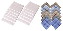 S4S 100% Cotton 12 White and 12 Multicolor Handkerchiefs