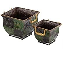 Essential Décor Entrada Collection 2-Piece Checkerboard Patterned Metal Planter Set With Handle