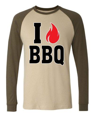 I Love BBQ Men'S Long Sleeve Baseball T-Shirt, Funny Grilling I Fire Bar-B-Que Design Baseball Shirt (Tan/Army, Small)