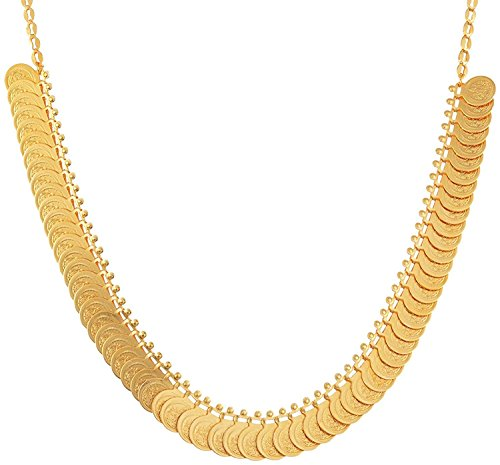UG PRODUCTS Gold Plated Necklace With Earrings Set For Women Small (50 coins kasu coin mala)  available at amazon for Rs.205